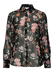 BLOUSE LONG-SLEEVE - BLACKOFFWHITEDUSTYPINK PRINT