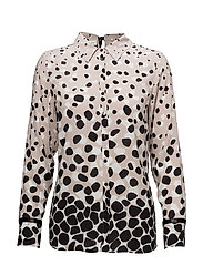 BLOUSE LONG-SLEEVE - TAUPE/ECRU/WHITE PRINT