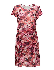 DRESS WOVEN FABRIC - OFFWHITE / RED / PINK PRINT