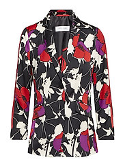 BLAZER CARDIGAN - BLACK / RED / LILAC PRINT