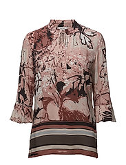 BLOUSE 3/4-SLEEVE - ECRU/ ROSE/ TRUFLE PRINT