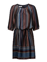 DRESS WOVEN FABRIC - INDIGO/CINNEMON/BLUE PRINT