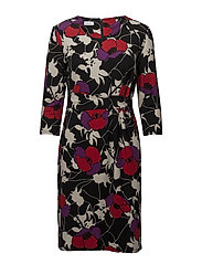 DRESS KNITTED FABRIC - BLACK / RED / LILAC PRINT