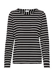 T-SHIRT LONG-SLEEVE - BLACK/ECRU/WHITE HOOPS