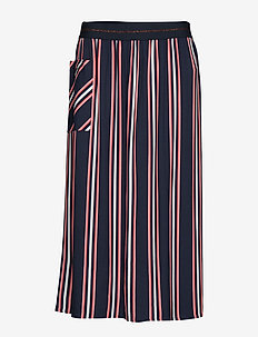SKIRT LONG WOVEN FAB - BLUE/ BLUSH STRIPE