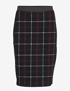 SKIRT KNITWEAR - BLACK OFFWHITE RED CHECK