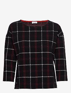 SWEAT-SHIRT SHORT-SL - BLACK OFFWHITE RED CHECK