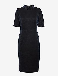 DRESS WOVEN FABRIC - BLACK/BLUE FIGURED