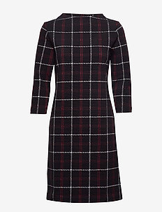 DRESS KNITTED FABRIC - BLACK OFFWHITE RED CHECK