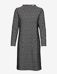 DRESS KNITTED FABRIC - BLACK/ECRU/WHITE FIGURED