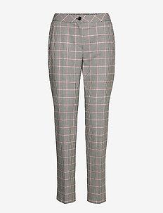 LEISURE TROUSERS LON - pantalons droits - blackoffwhitespicedcoral check