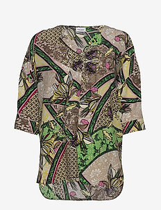 BLOUSE 3/4-SLEEVE - SAND YELLOW MULTICOLOR PRINT