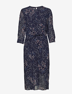 DRESS WOVEN FABRIC - BLUE/ECRU/WHITE PRINT