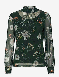 T-SHIRT LONG-SLEEVE - blouses à manches longues - emerald green soft mint print