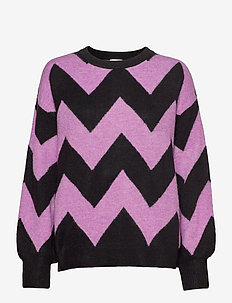PULLOVER LONG-SLEEVE - gensere - sheer lilac/ black patterned