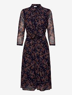 DRESS KNITTED FABRIC - sukienki do kolan i midi - navy sienna print