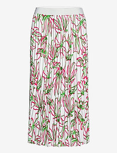 SKIRT LONG WOVEN FAB - midi skirts - white azalea palm print