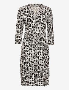 DRESS KNITTED FABRIC - bodycon-kjoler - dark navy bleu print