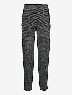 CROP LEISURE TROUSER - spodnie na co dzień - black/ecru/white figured