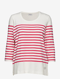 T-SHIRT 3/4-SLEEVE R - ecru/white/pink hoops