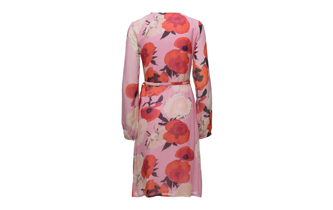 Dress Ms18 Doublure Gestuz Violetta Viscose Intérieure Wrap Flower Équipement Pink 100 xZxSRqw