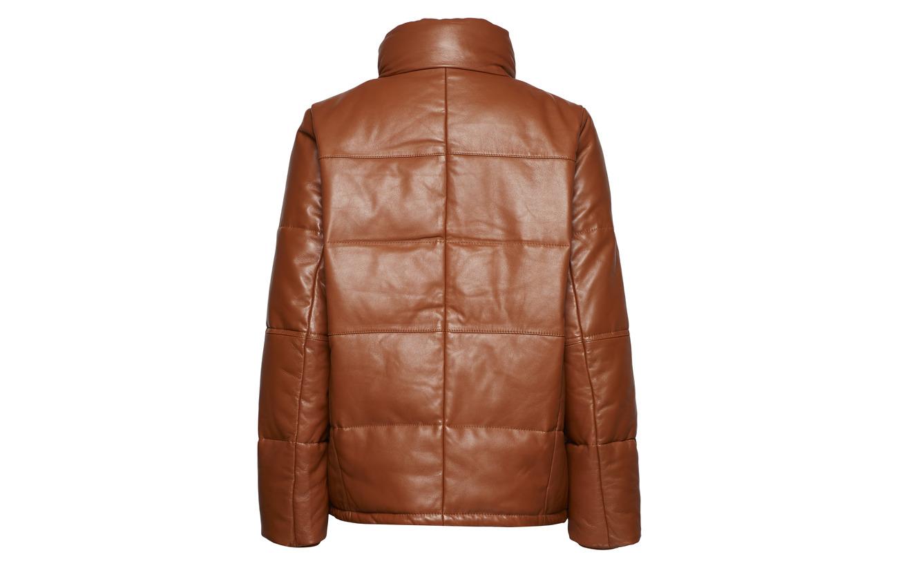 Cuir 100 Café Ma18 Intérieure Caramel Gestuz Équipement Polyester Doublure Jacket Riley A1IwqyFxv0
