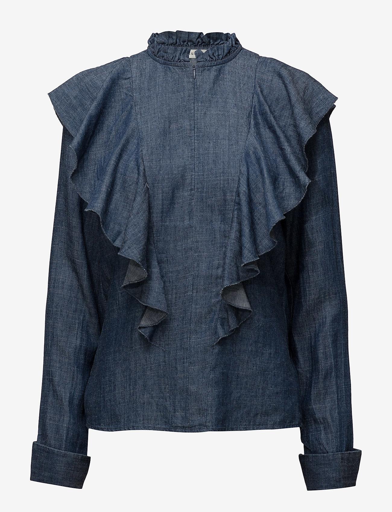 Gestuz - Cyndie blouse SO18 - langærmede bluser - denim blue - 0