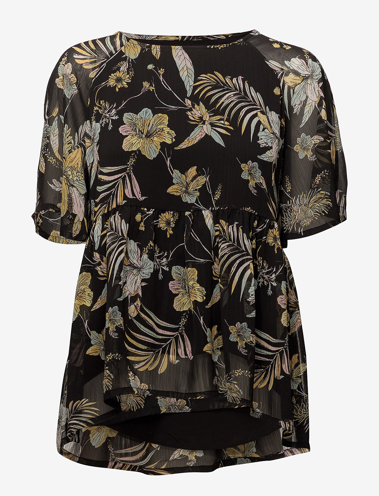 Gestuz - Maui ss top MS18 - short-sleeved blouses - black palm - 0