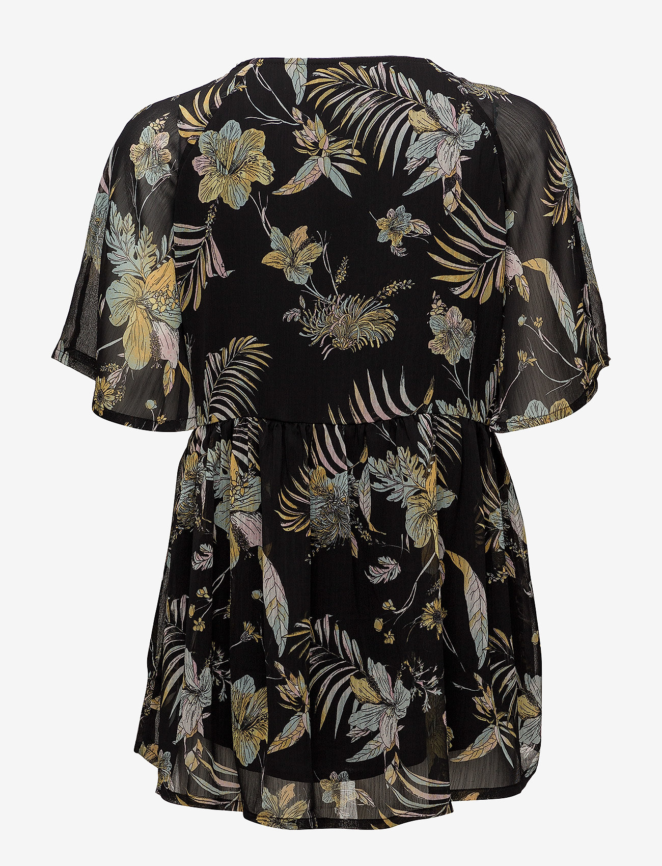 Gestuz - Maui ss top MS18 - short-sleeved blouses - black palm - 1