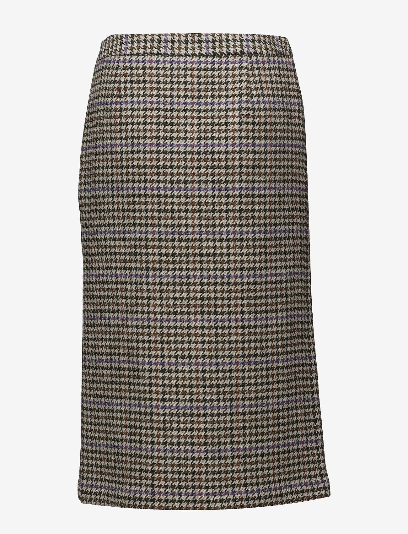 Gestuz - Welle check skirt - midi skirts - off white/cognac