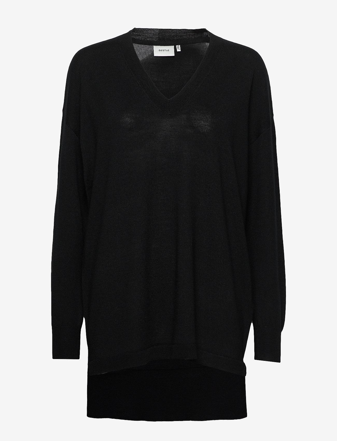 Gestuz - ThelmaGZ V-pullover - trøjer - black - 1