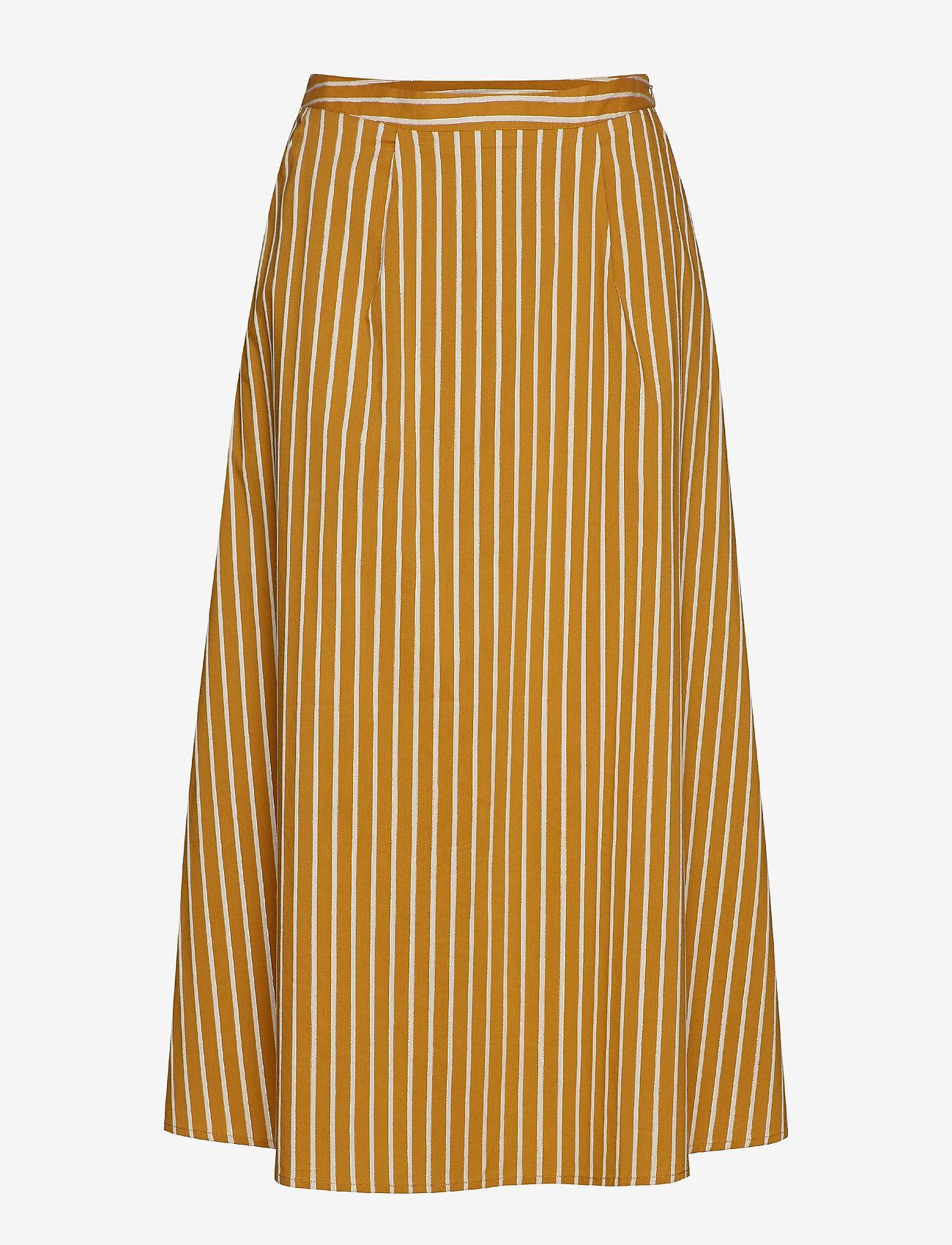 Gestuz - BethanyGZ skirt ZE1 19 - midi skirts - narcissus yellow stripe