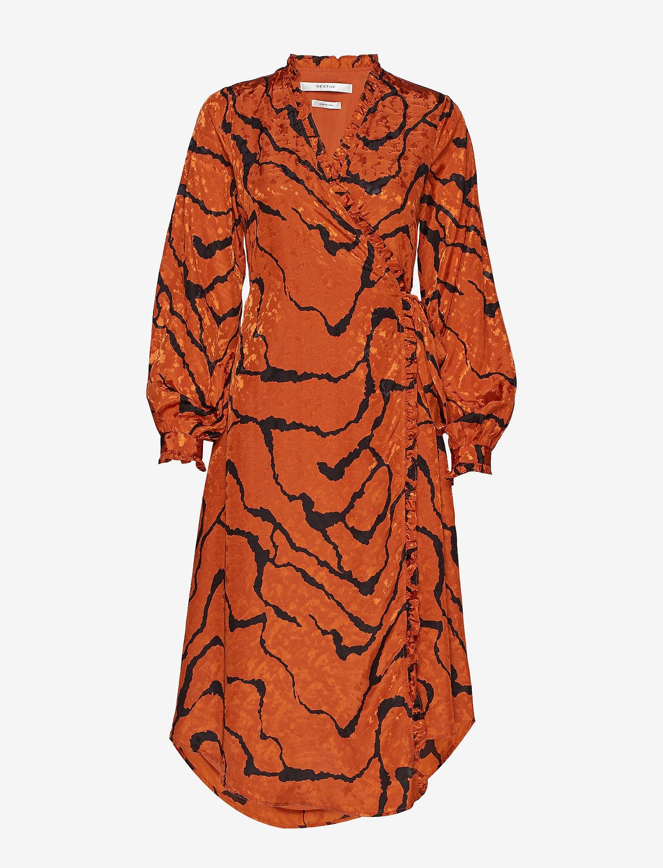Gestuz - AylinGZ wrap dress MA19 - kietaisumekot - umber ripple