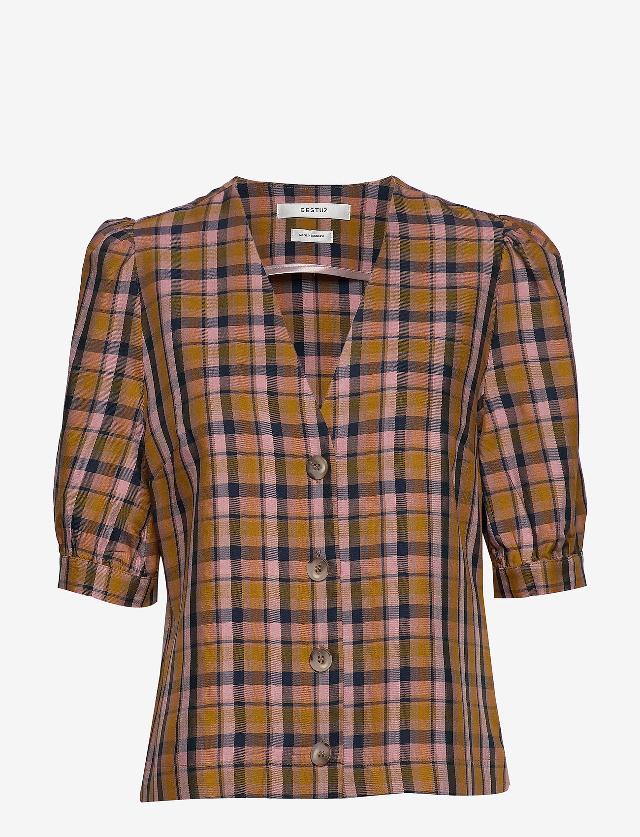 Gestuz - AcieGZ shirt MA19 - short-sleeved blouses - blue/blush check - 1
