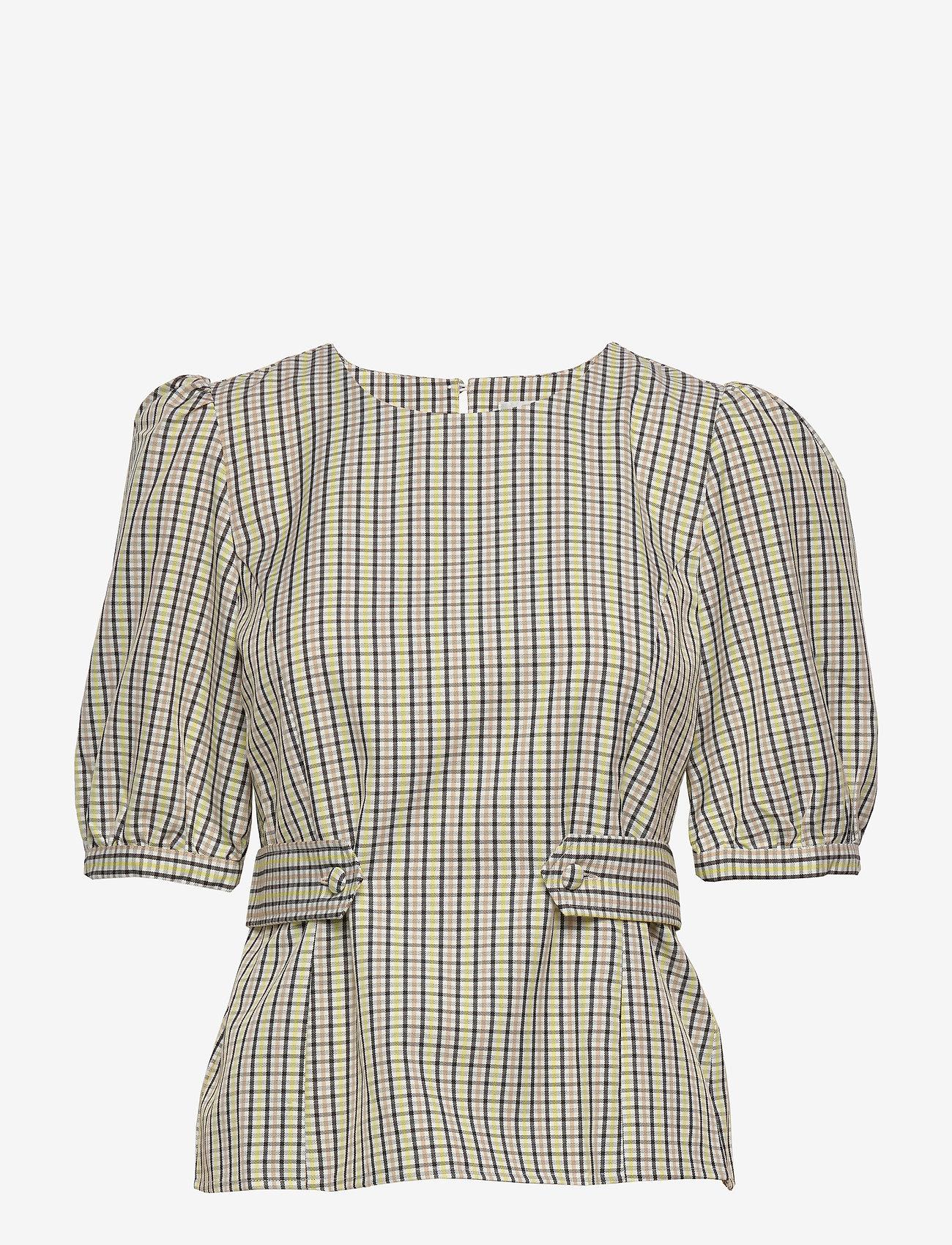 Gestuz - ElionaGZ blouse MS20 - short-sleeved blouses - lime light check - 1