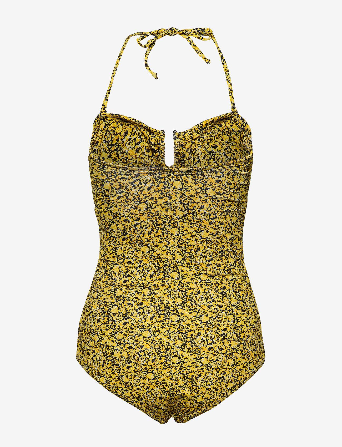 Gestuz - KellyGZ swimsuit - badedragter - yellow mini flower - 1