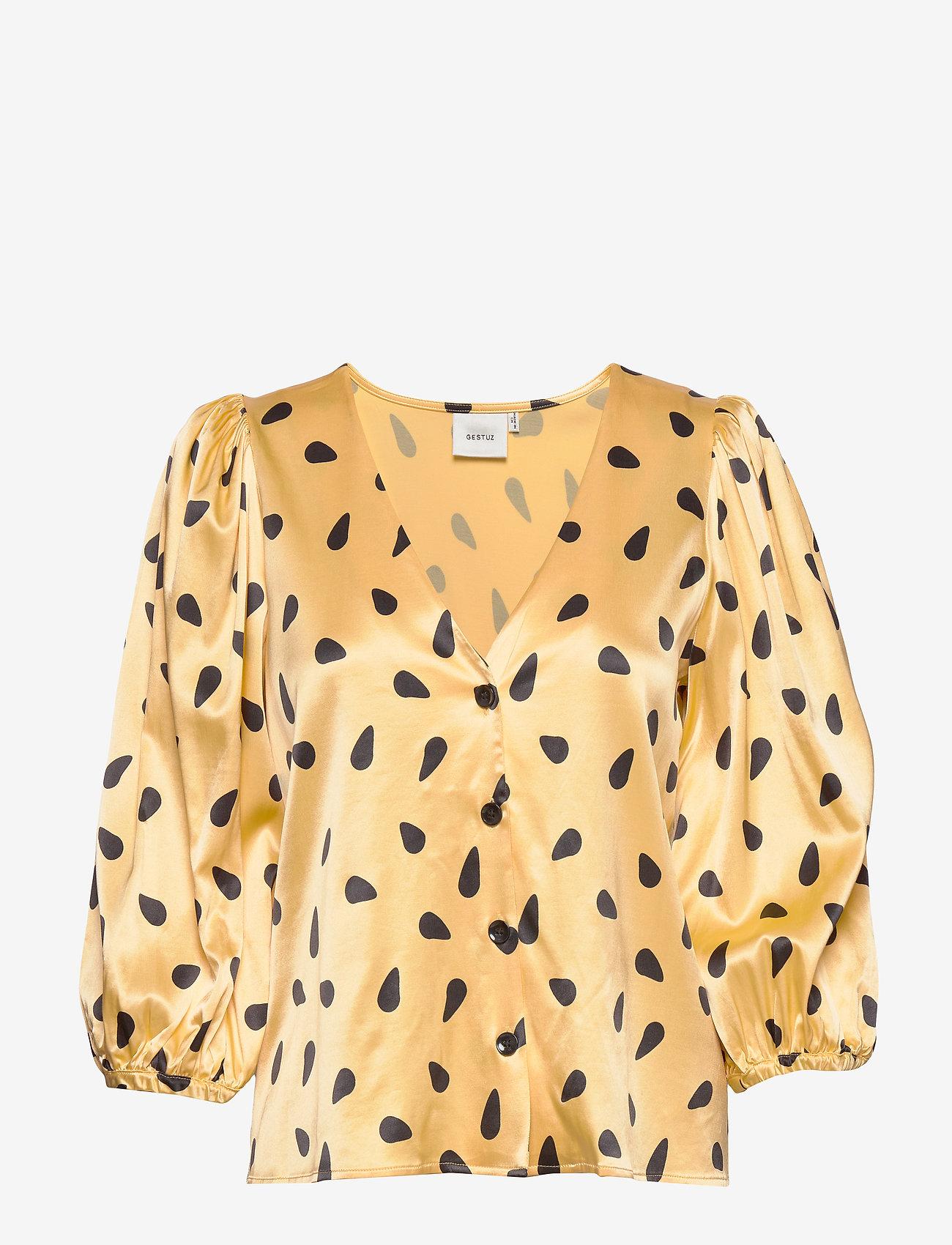 Gestuz - LutilleGZ shirt HS20 - langærmede bluser - yellow black dot - 1