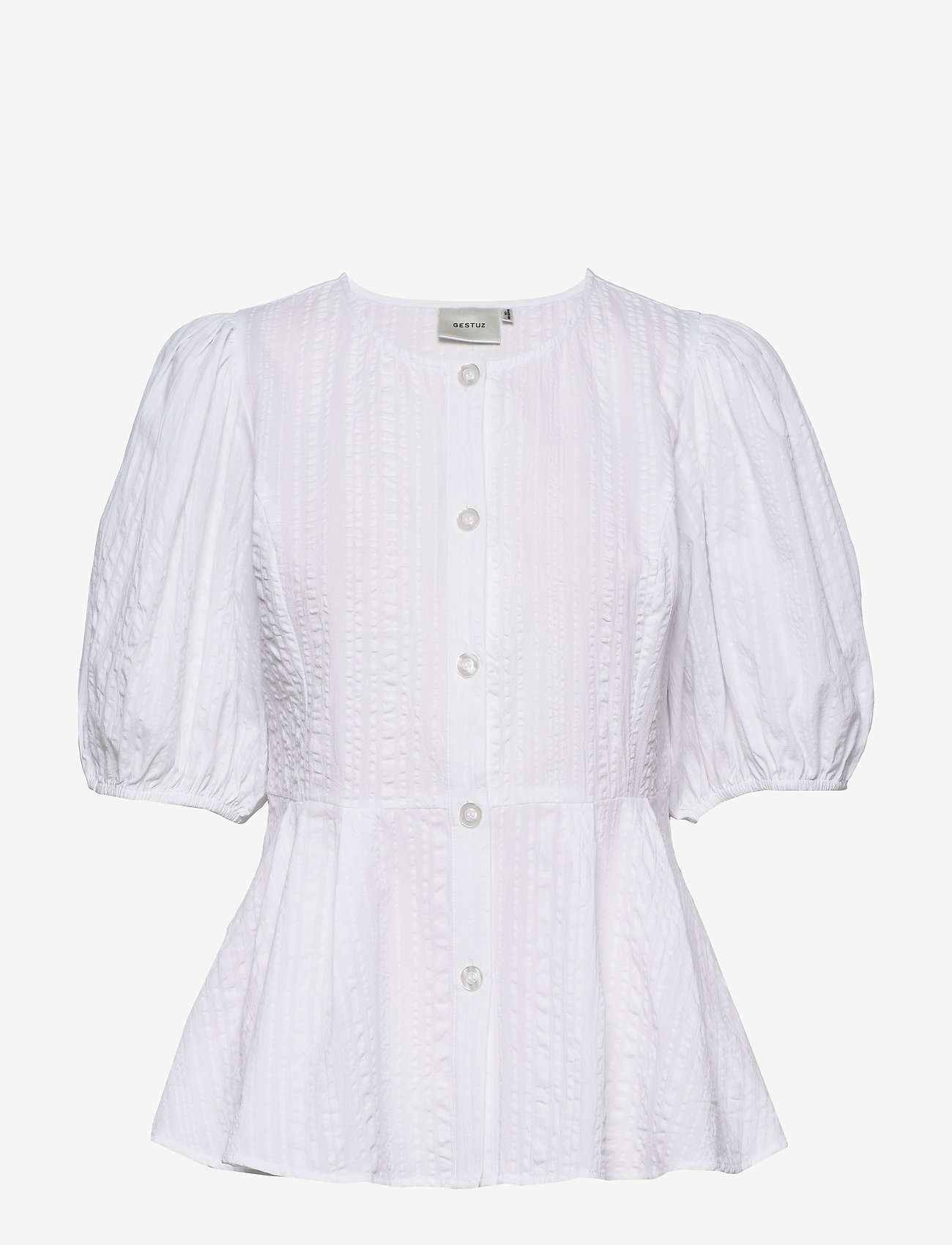 Gestuz - HevinGZ blouse HS20 - short-sleeved blouses - bright white - 1