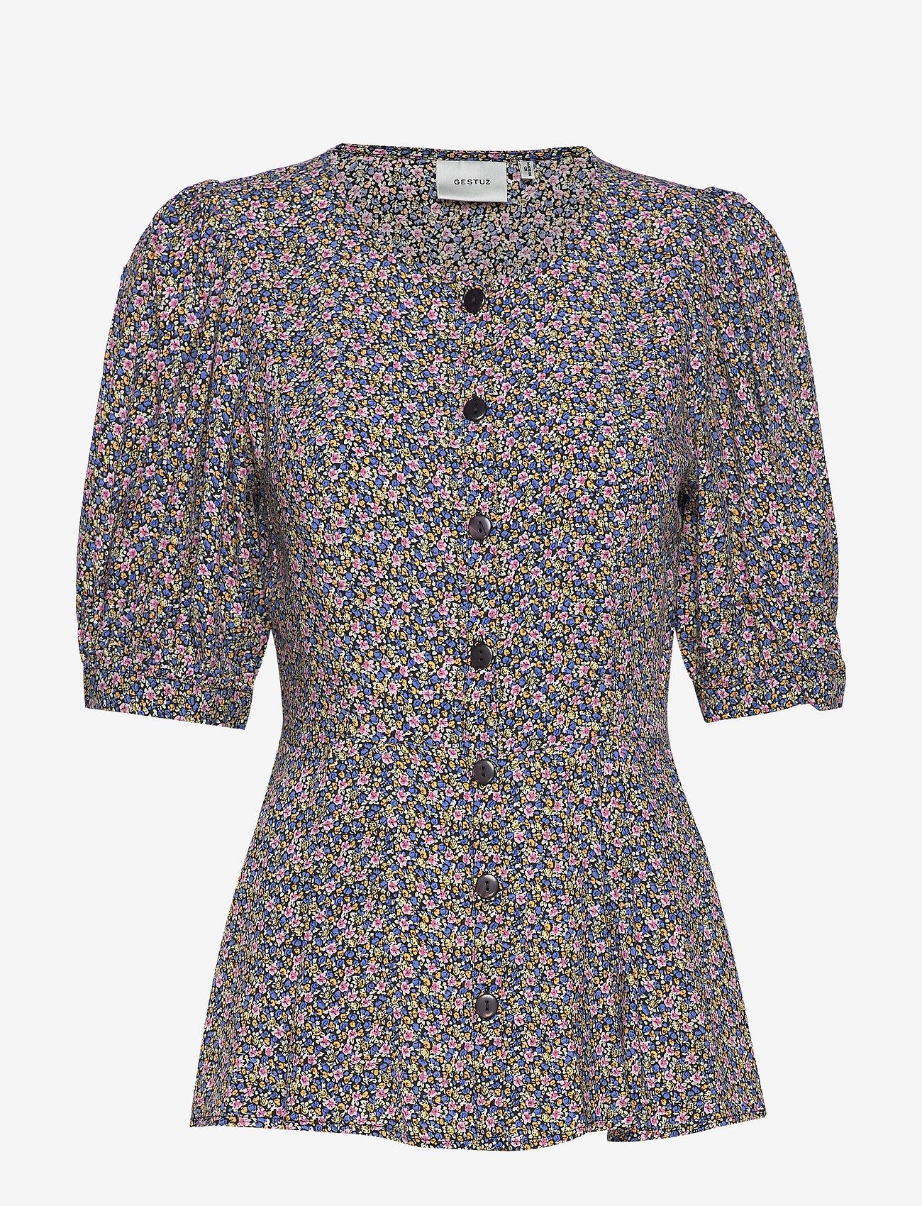 Gestuz - DevaGZ blouse HS20 - short-sleeved blouses - small flower black - 1