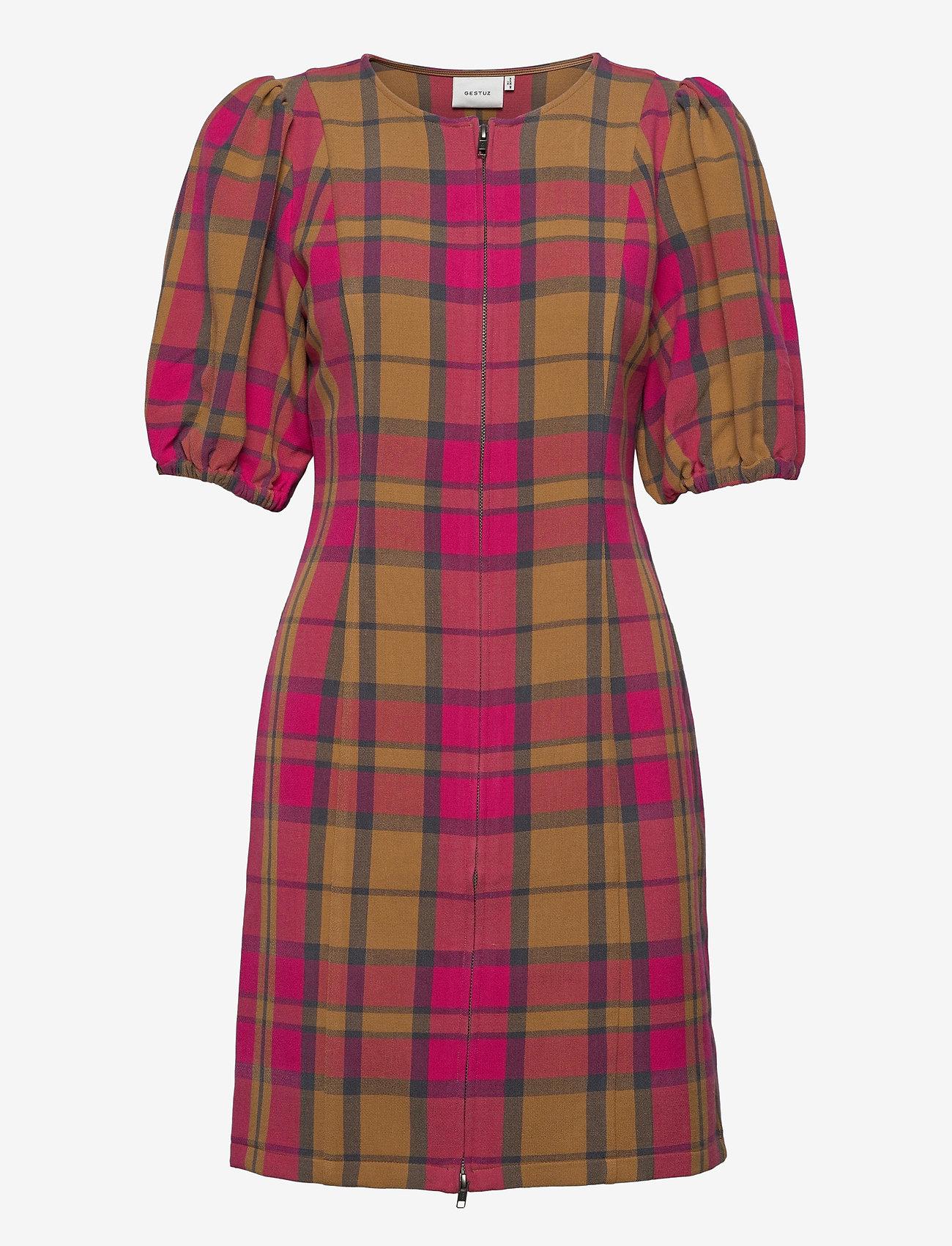 Gestuz - CivaGZ dress AO20 - stramme kjoler - pink/yellow check - 0
