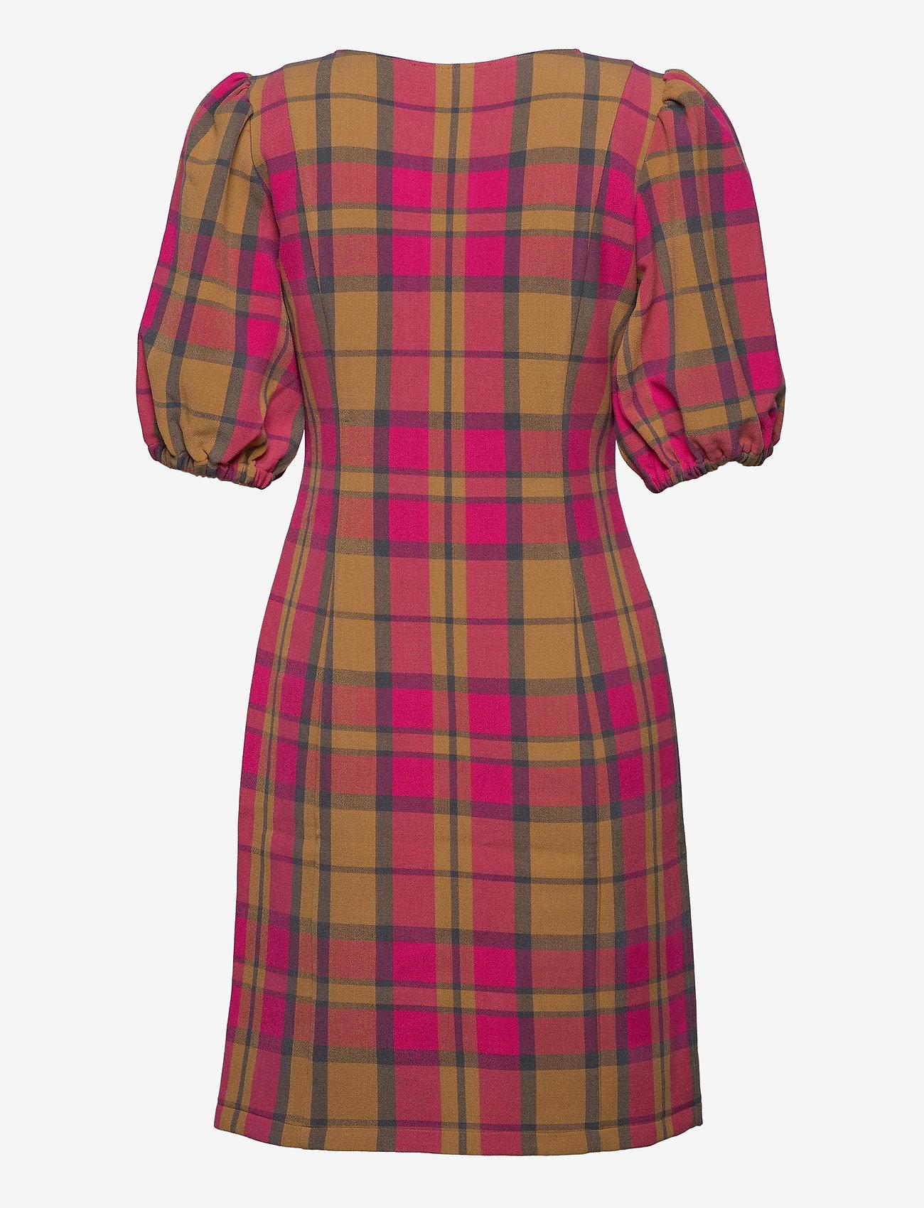 Gestuz - CivaGZ dress AO20 - stramme kjoler - pink/yellow check - 1