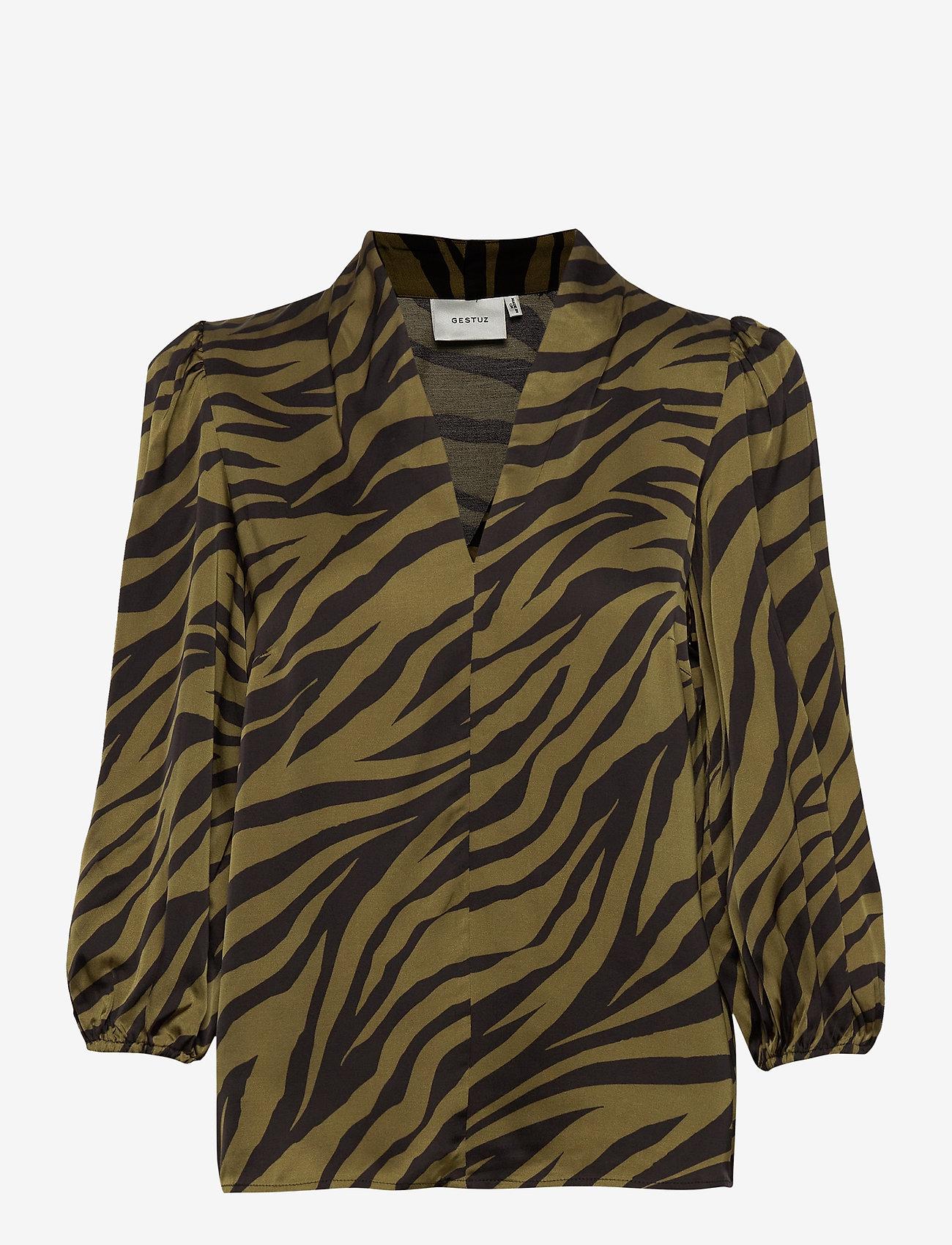 Gestuz - NadjaGZ blouse BZ - langærmede bluser - army animal - 0