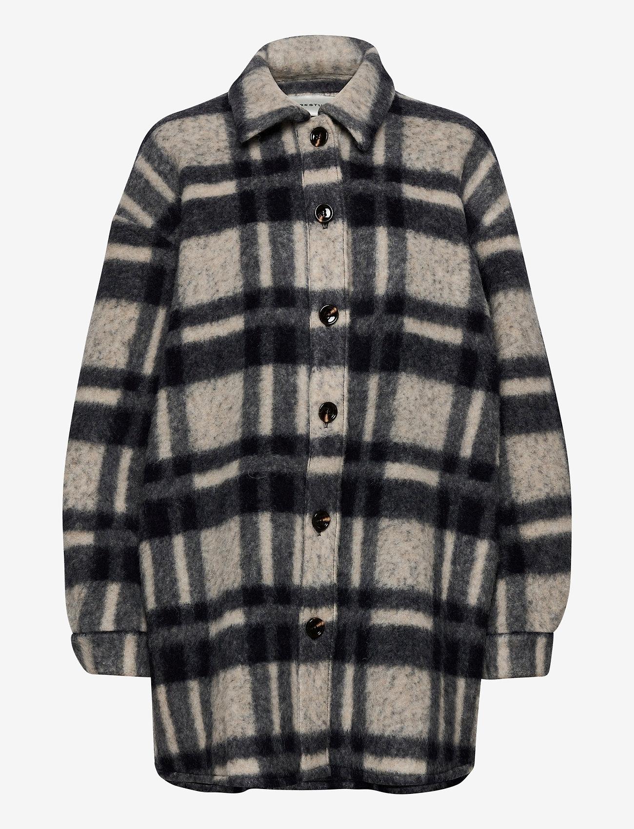 Gestuz - RinaGZ shirt MA20 - wool jackets - salt/peber check - 1