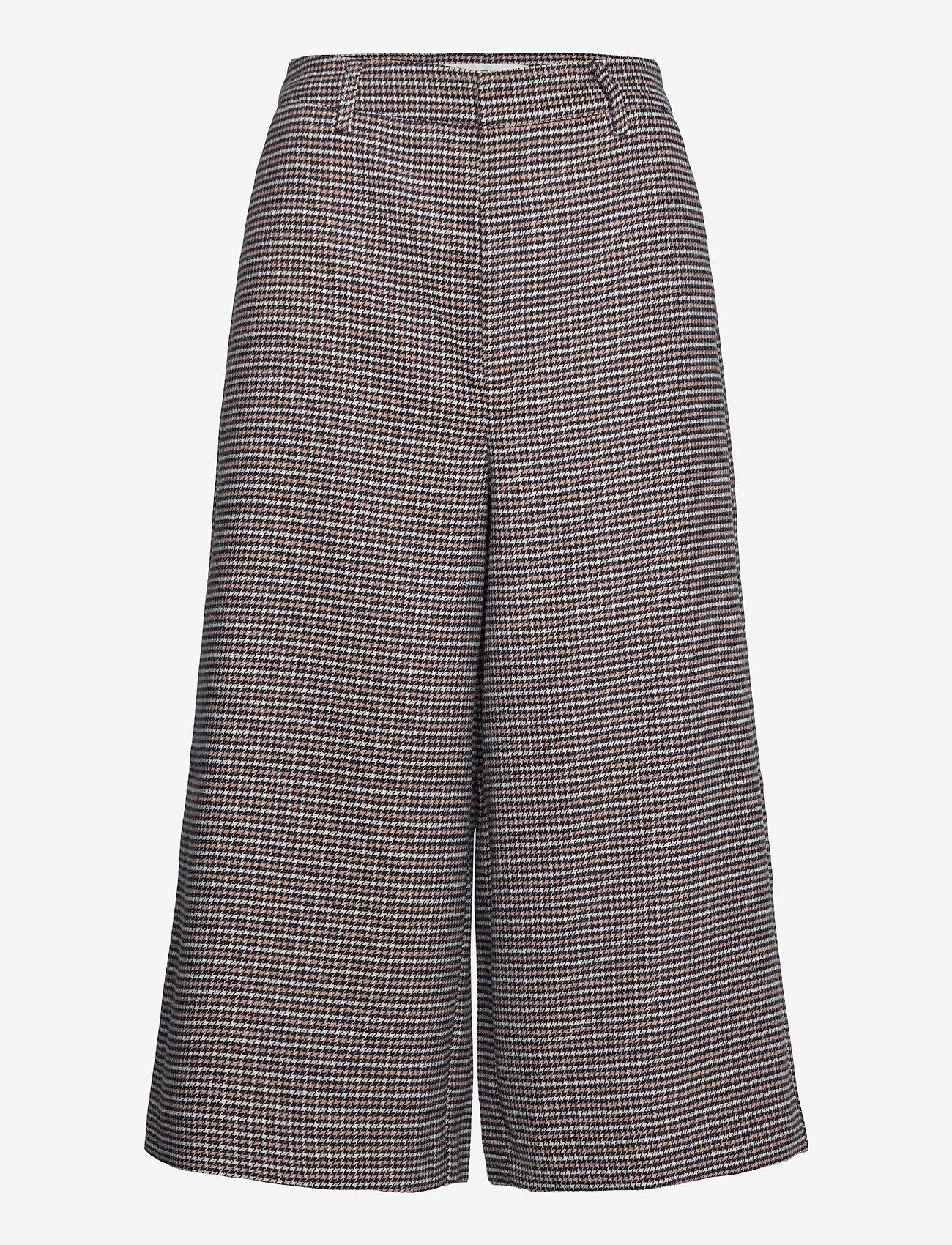 Gestuz - VivGZ long shorts MA20 - bukser med brede ben - brown check - 0