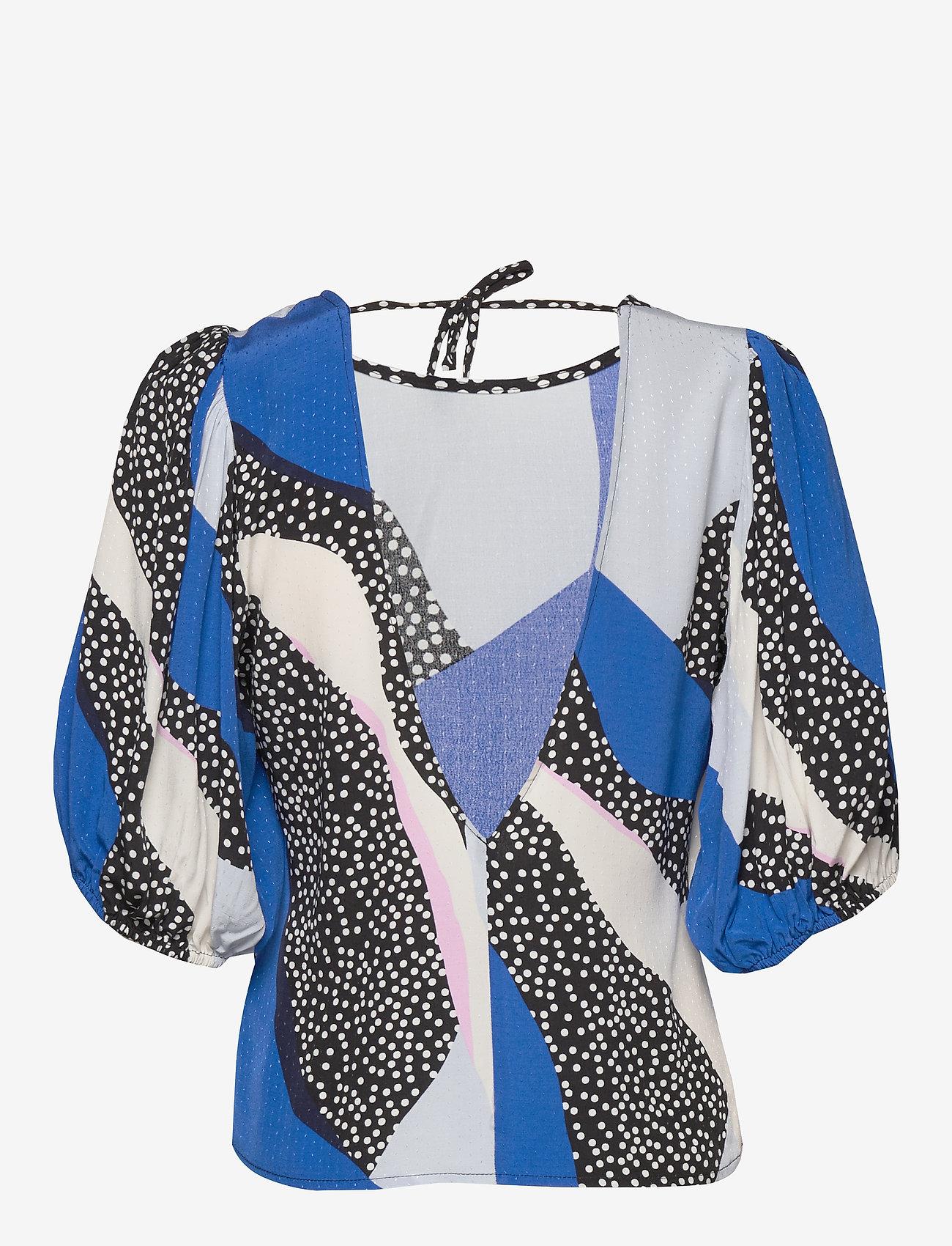 Gestuz - GlowieGZ blouse ZE2 20 - short-sleeved blouses - blue pink colorblock - 1