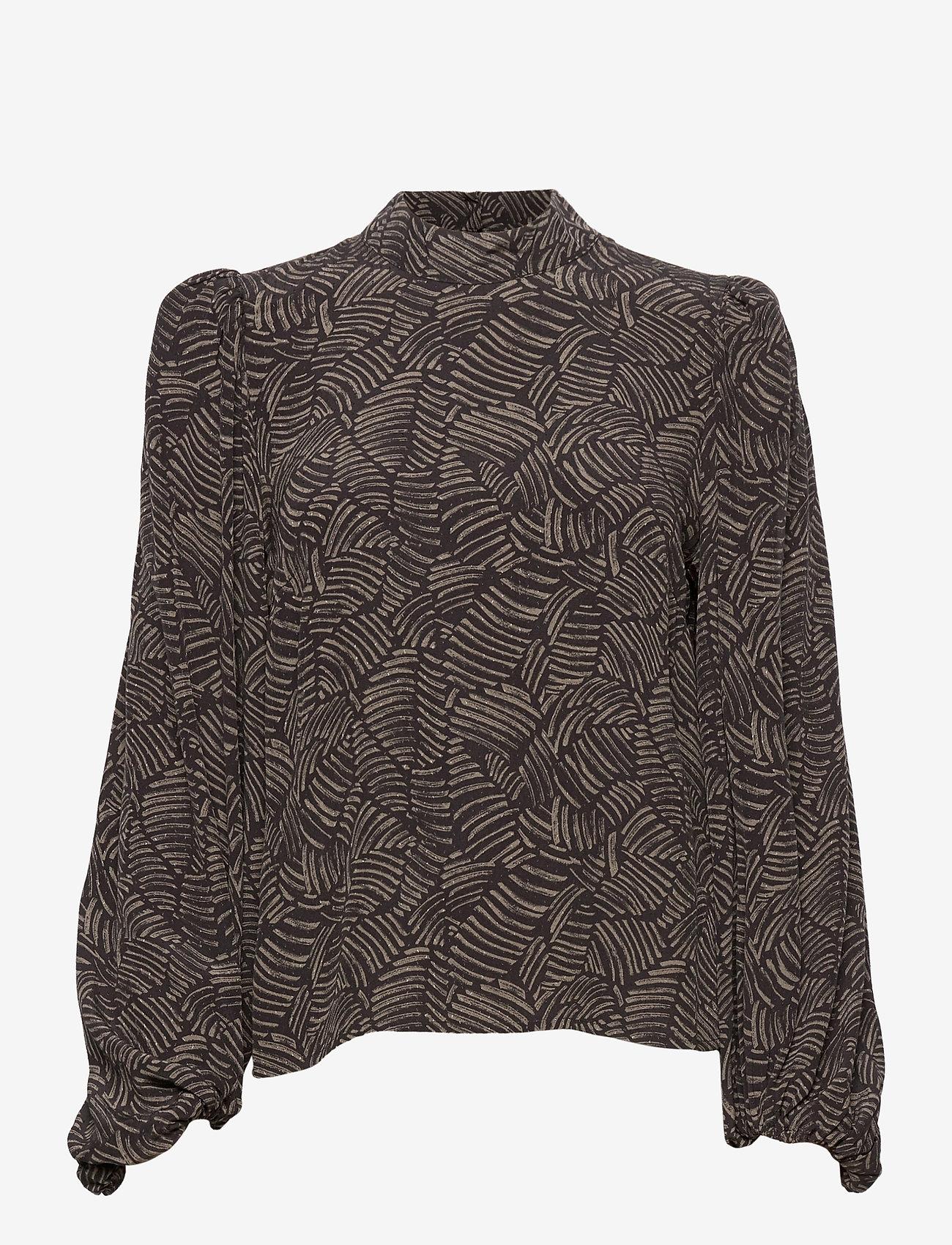 Gestuz - TikaGZ blouse SO21 - langærmede bluser - brown strokes - 1