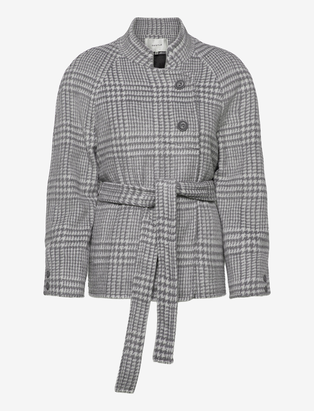 Gestuz - RoselGZ jacket SO21 - wool jackets - grey/white check - 1