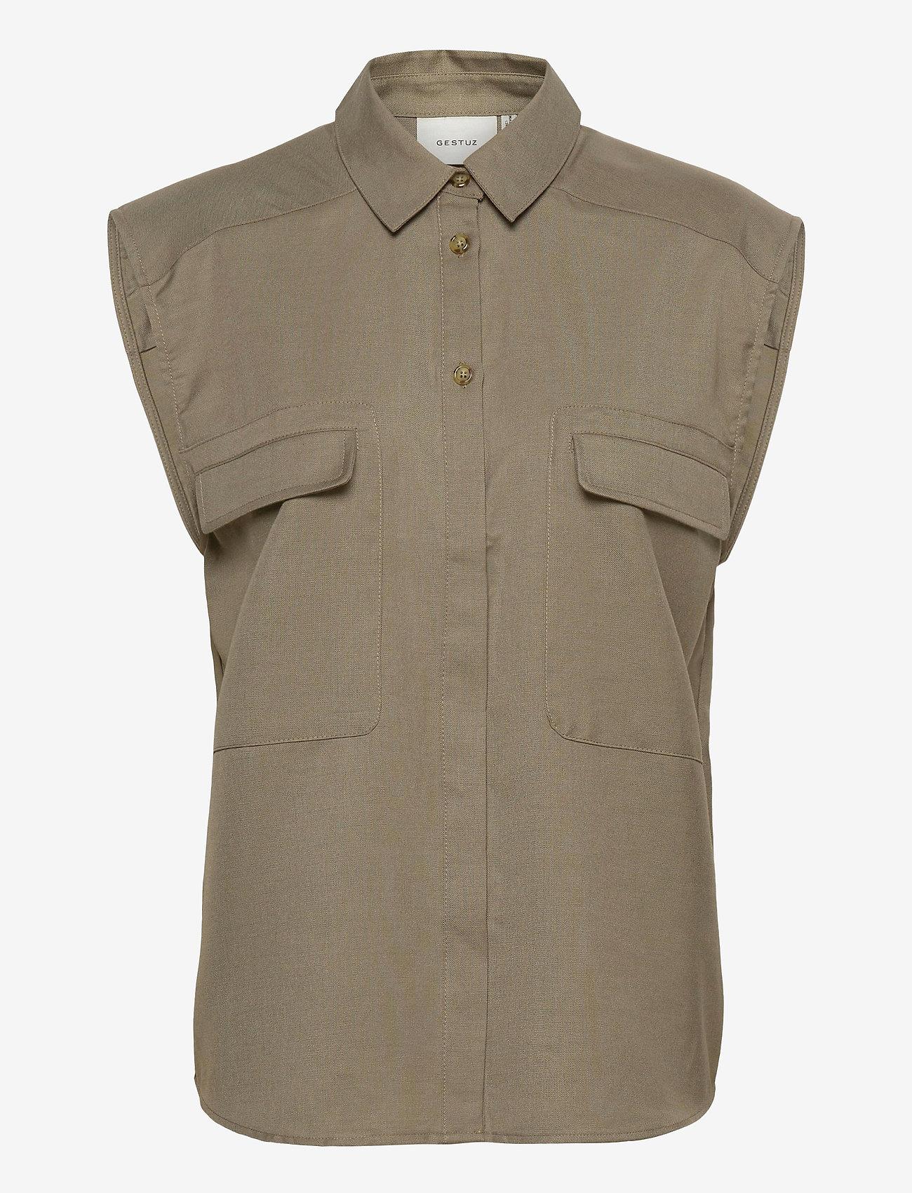 Gestuz - LeejaGZ sl shirt - kortærmede skjorter - brindle - 1