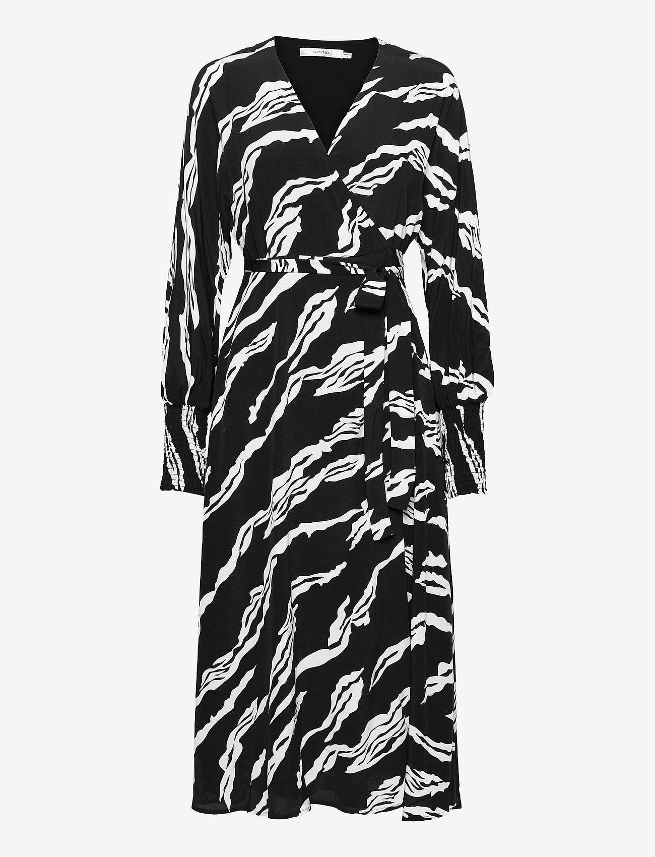 Gestuz - ZohaGZ wrap dress MS21 - slå-om-kjoler - black scratch - 1