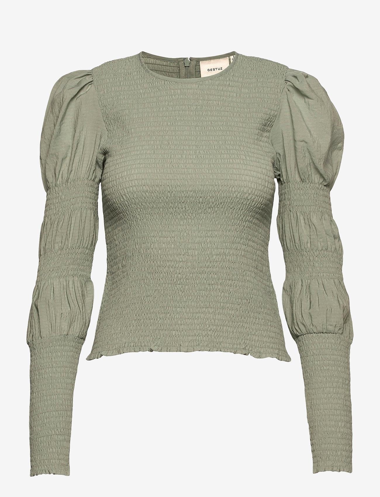 Gestuz - MazziGZ ls blouse MS21 - langærmede bluser - slate gray - 1